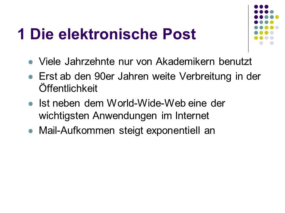 1 Die elektronische Post Viele Jahrzehnte nur von Akademikern benutzt Erst ab den 90er Jahren weite Verbreitung in der Öffentlichkeit Ist neben dem World-Wide-Web eine der wichtigsten Anwendungen im Internet Mail-Aufkommen steigt exponentiell an