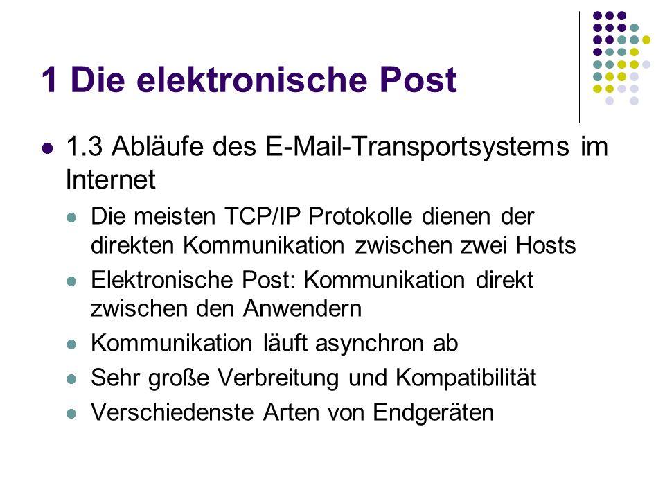 1 Die elektronische Post 1.3 Abläufe des E-Mail-Transportsystems im Internet Die meisten TCP/IP Protokolle dienen der direkten Kommunikation zwischen zwei Hosts Elektronische Post: Kommunikation direkt zwischen den Anwendern Kommunikation läuft asynchron ab Sehr große Verbreitung und Kompatibilität Verschiedenste Arten von Endgeräten