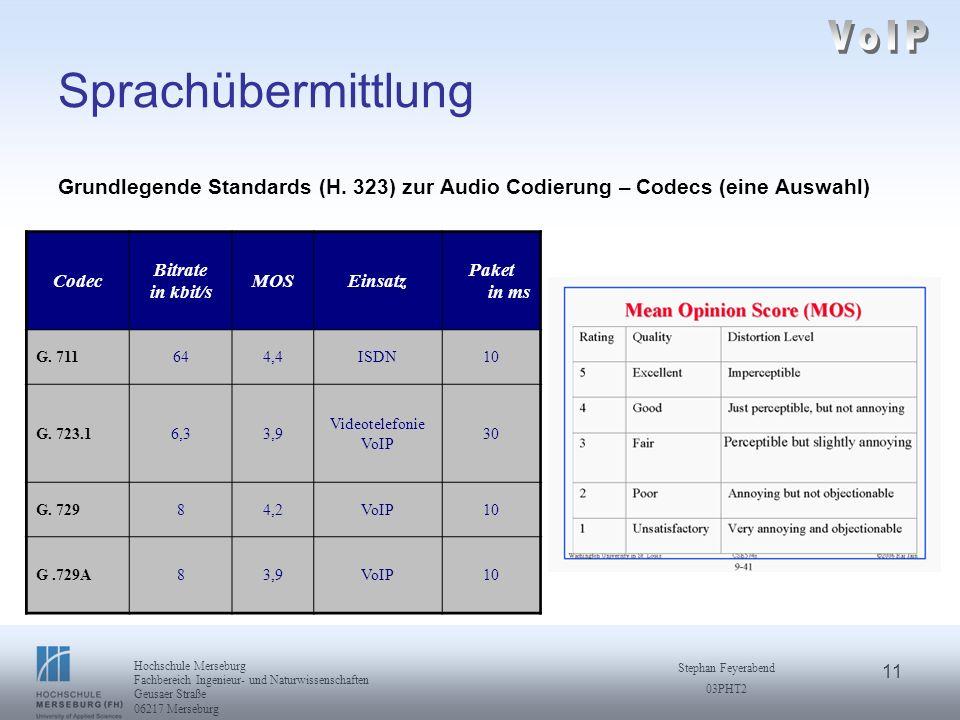 11 Hochschule Merseburg Fachbereich Ingenieur- und Naturwissenschaften Geusaer Straße 06217 Merseburg Stephan Feyerabend 03PHT2 Sprachübermittlung Gru