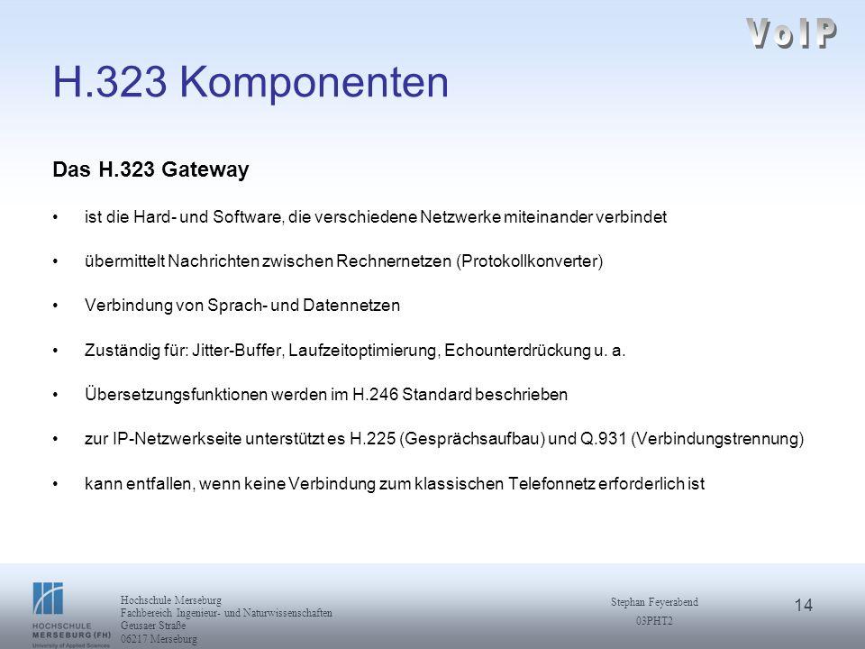 14 Hochschule Merseburg Fachbereich Ingenieur- und Naturwissenschaften Geusaer Straße 06217 Merseburg Stephan Feyerabend 03PHT2 H.323 Komponenten Das