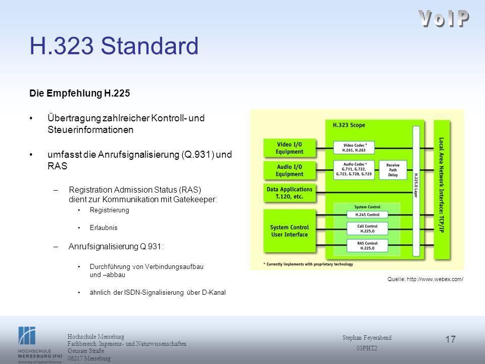 17 Hochschule Merseburg Fachbereich Ingenieur- und Naturwissenschaften Geusaer Straße 06217 Merseburg Stephan Feyerabend 03PHT2 H.323 Standard Die Emp