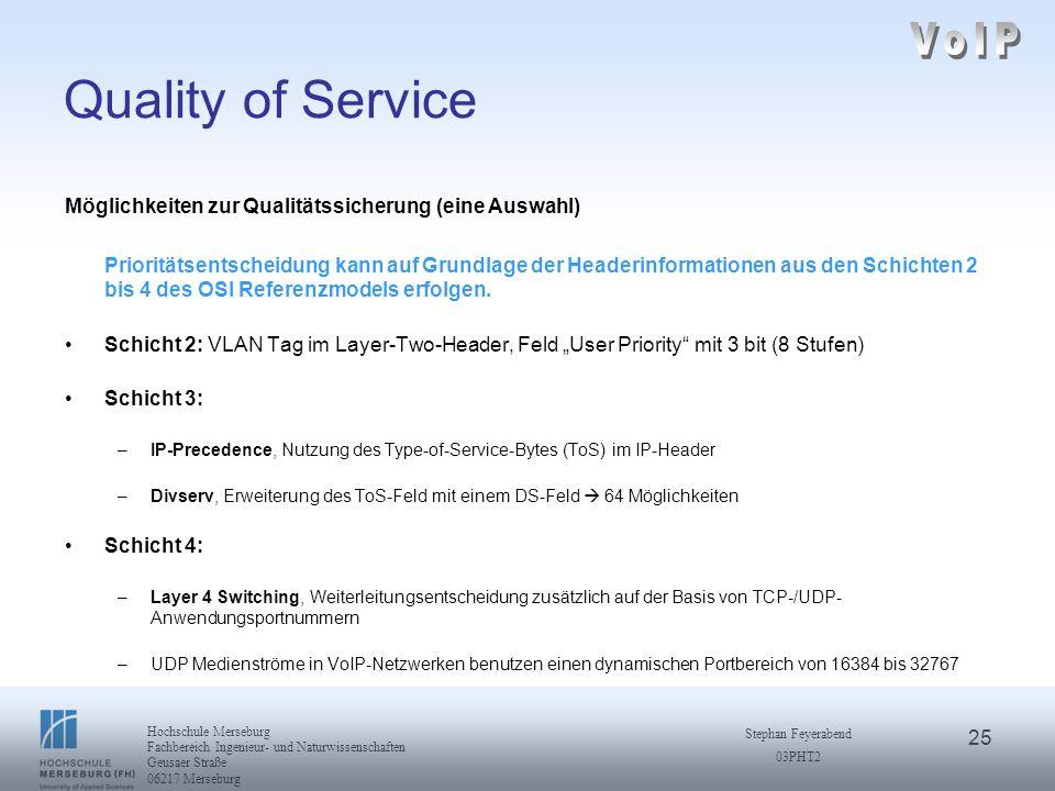 25 Hochschule Merseburg Fachbereich Ingenieur- und Naturwissenschaften Geusaer Straße 06217 Merseburg Stephan Feyerabend 03PHT2 Quality of Service Mög