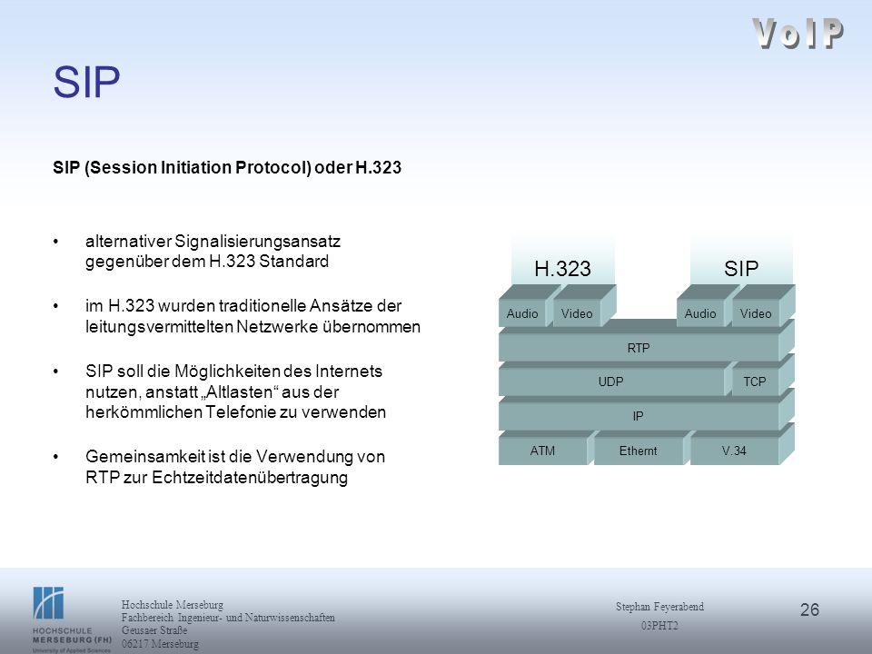 26 Hochschule Merseburg Fachbereich Ingenieur- und Naturwissenschaften Geusaer Straße 06217 Merseburg Stephan Feyerabend 03PHT2 SIP SIP (Session Initi