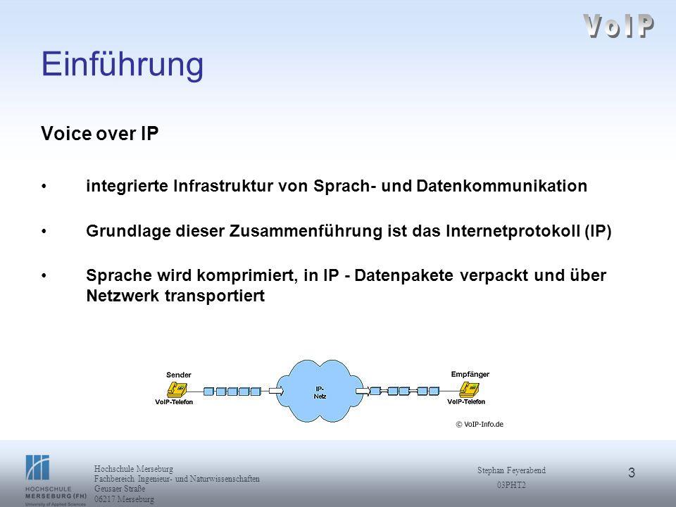 4 Hochschule Merseburg Fachbereich Ingenieur- und Naturwissenschaften Geusaer Straße 06217 Merseburg Stephan Feyerabend 03PHT2 Einführung Begriffsklärung IP-Telefonie: wenn die IP-Technik auch im Endgerät eingesetzt wird.