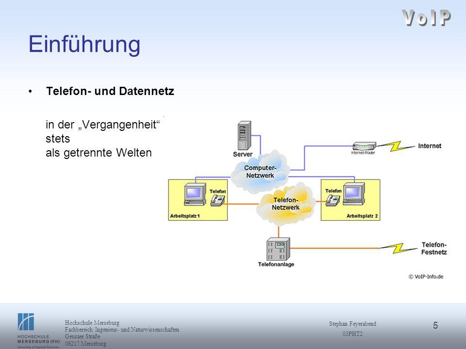 6 Hochschule Merseburg Fachbereich Ingenieur- und Naturwissenschaften Geusaer Straße 06217 Merseburg Stephan Feyerabend 03PHT2 Einführung Voice over IP ein Telefoniedienst im Datennetz