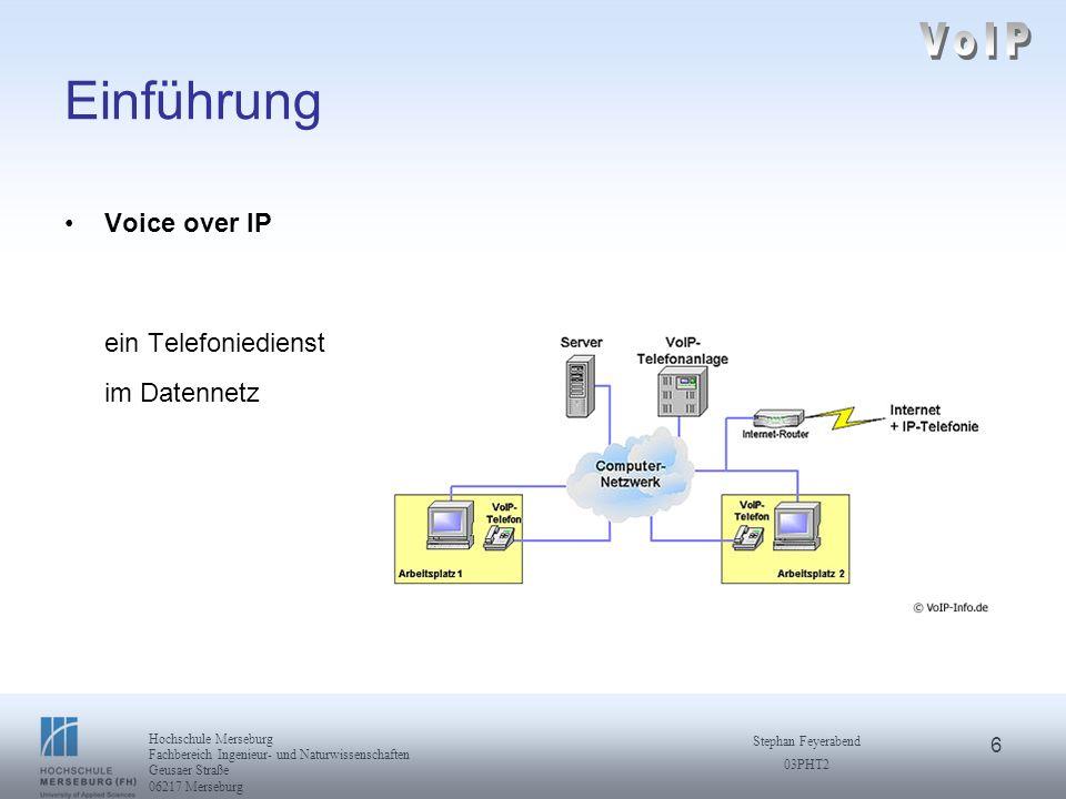 6 Hochschule Merseburg Fachbereich Ingenieur- und Naturwissenschaften Geusaer Straße 06217 Merseburg Stephan Feyerabend 03PHT2 Einführung Voice over I