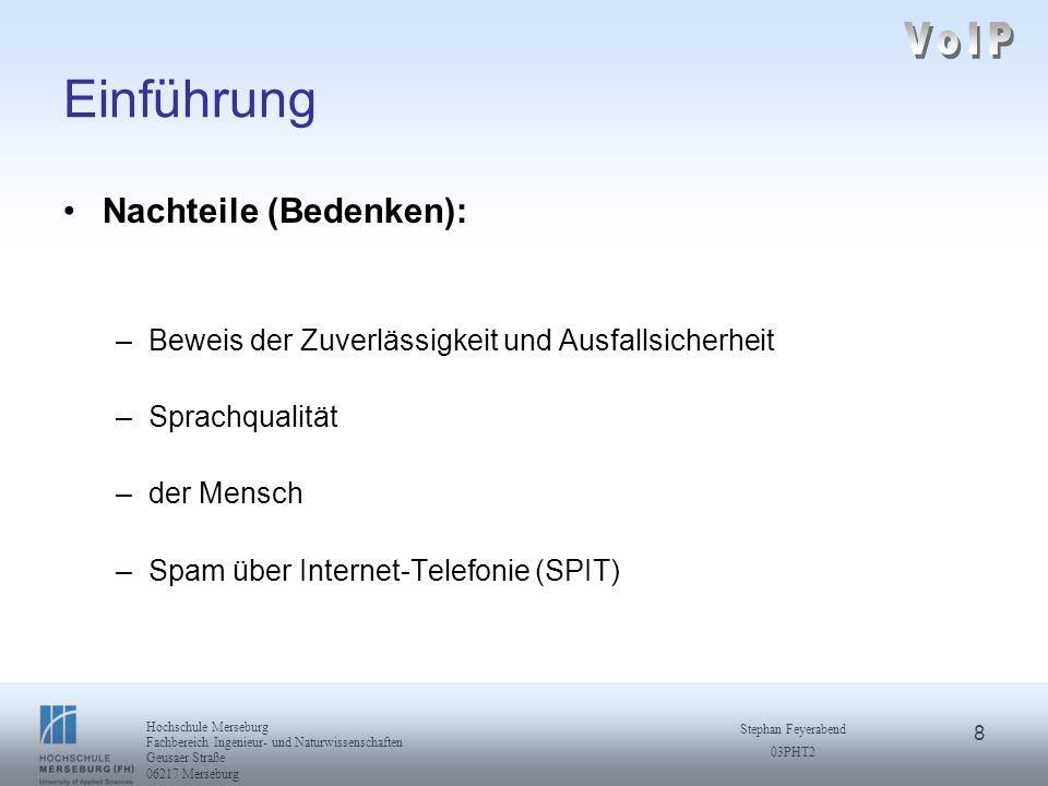 19 Hochschule Merseburg Fachbereich Ingenieur- und Naturwissenschaften Geusaer Straße 06217 Merseburg Stephan Feyerabend 03PHT2 H.323 Standard H.323 über IP basierte Netzwerke Internet Protokoll (IP): –jedes Datenpaket erhält vollständige Adressinformation –keine Information über die Vollständigkeit und Reihenfolge der Datenpakete verbindungslose Zustellung Schicht 1 PHYSIK LINK IP UDPTCP RTP/RTCP Audio Codecs Video Codecs RASH.245Q.931T.120 Schicht 2 Schicht 3 Schicht 4 H.323 {