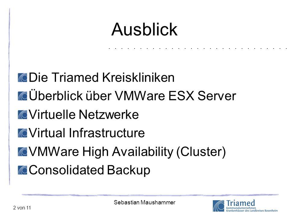 Sebastian Maushammer 2 von 11 Ausblick Die Triamed Kreiskliniken Überblick über VMWare ESX Server Virtuelle Netzwerke Virtual Infrastructure VMWare Hi