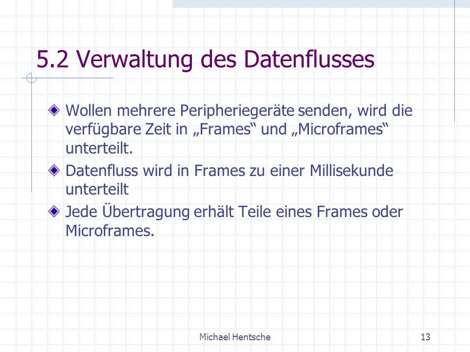 Michael Hentsche13 5.2 Verwaltung des Datenflusses Wollen mehrere Peripheriegeräte senden, wird die verfügbare Zeit in Frames und Microframes unterteilt.