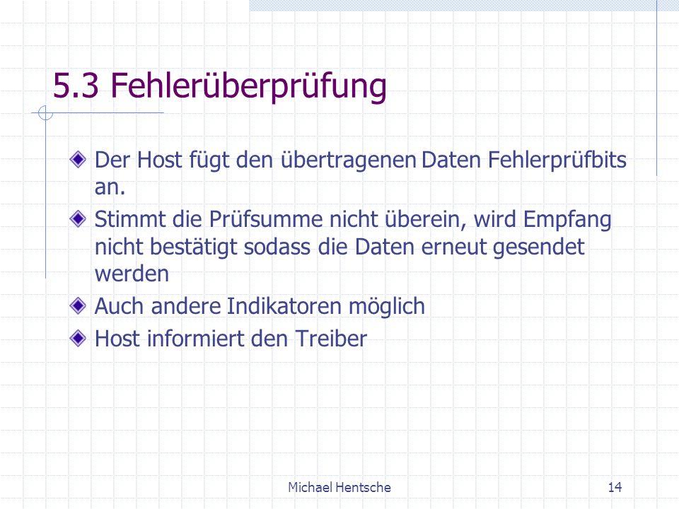 Michael Hentsche14 5.3 Fehlerüberprüfung Der Host fügt den übertragenen Daten Fehlerprüfbits an.