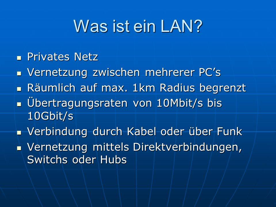 Welche Geräte sind wichtig in einem LAN.