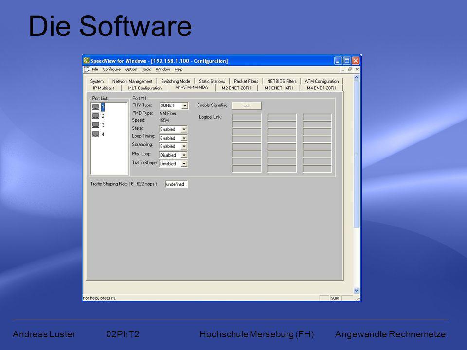 Die Software Andreas Luster 02PhT2 Hochschule Merseburg (FH) Angewandte Rechnernetze