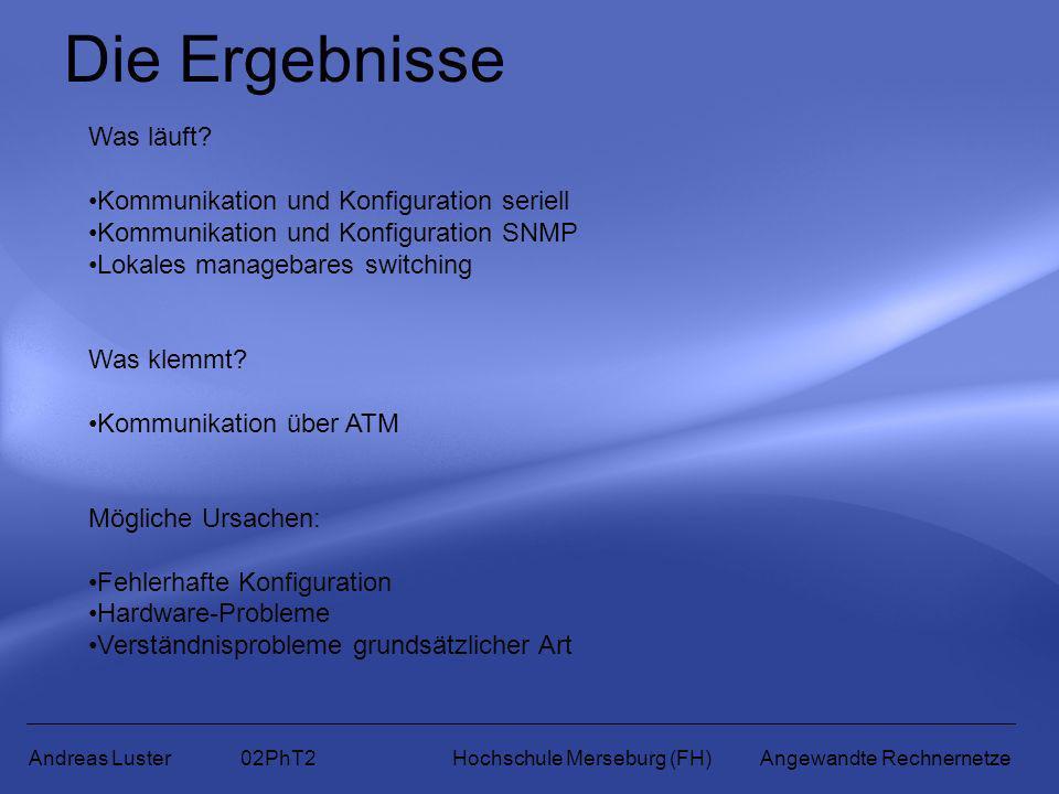 Die Ergebnisse Andreas Luster 02PhT2 Hochschule Merseburg (FH) Angewandte Rechnernetze Was läuft? Kommunikation und Konfiguration seriell Kommunikatio