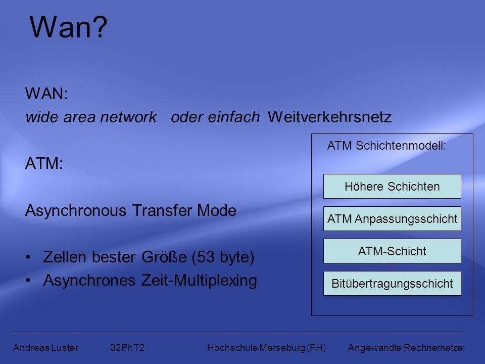 Wan? WAN: wide area network oder einfach Weitverkehrsnetz ATM: Asynchronous Transfer Mode Zellen bester Größe (53 byte) Asynchrones Zeit-Multiplexing