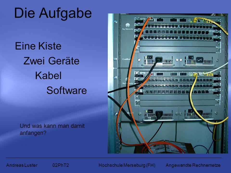 Die Aufgabe Eine Kiste Zwei Geräte Kabel Software Andreas Luster 02PhT2 Hochschule Merseburg (FH) Angewandte Rechnernetze Und was kann man damit anfan