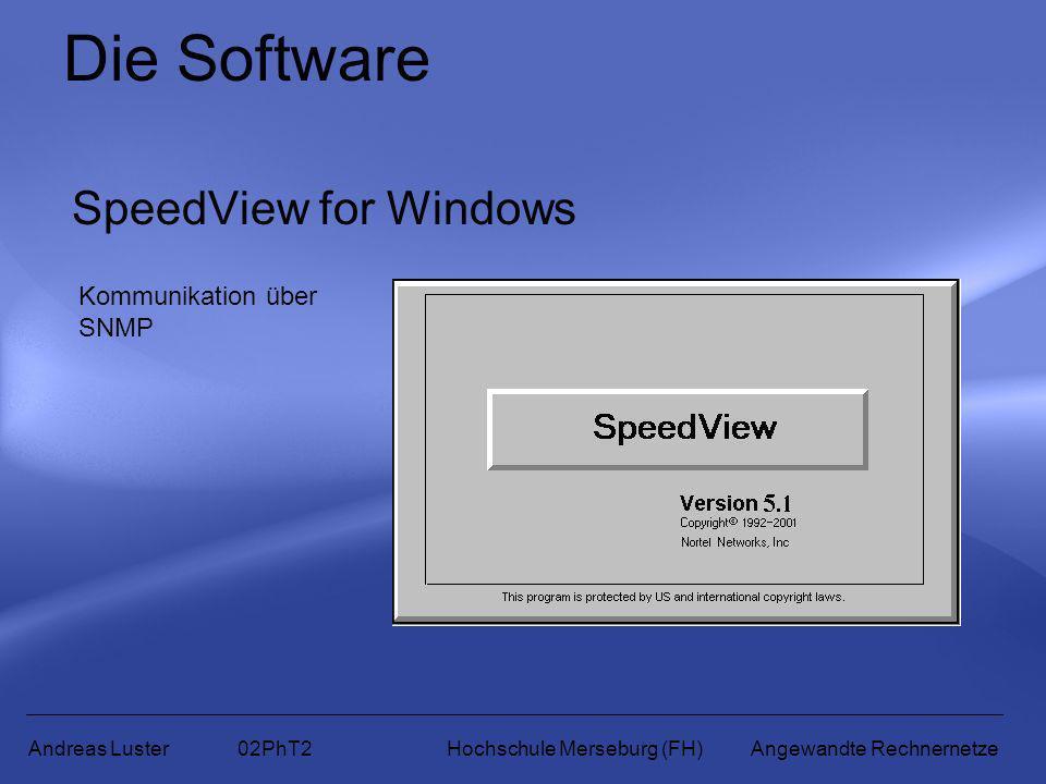 Die Software SpeedView for Windows Andreas Luster 02PhT2 Hochschule Merseburg (FH) Angewandte Rechnernetze Kommunikation über SNMP