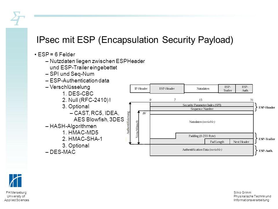 Silko Grimm Physikalische Technik und Informationsverarbeitung FH Merseburg University of Applied Sciences IPsec mit ESP (Encapsulation Security Paylo
