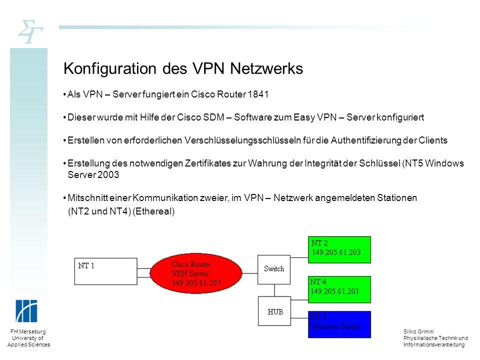 Silko Grimm Physikalische Technik und Informationsverarbeitung FH Merseburg University of Applied Sciences Konfiguration des VPN Netzwerks Als VPN – S
