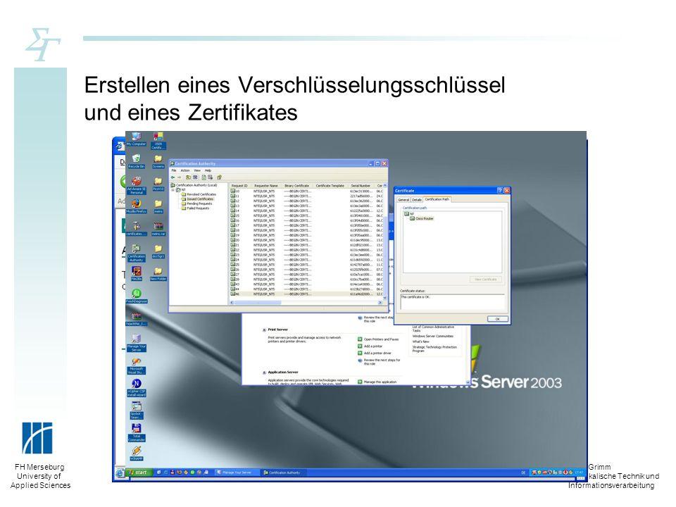 Silko Grimm Physikalische Technik und Informationsverarbeitung FH Merseburg University of Applied Sciences Erstellen eines Verschlüsselungsschlüssel u