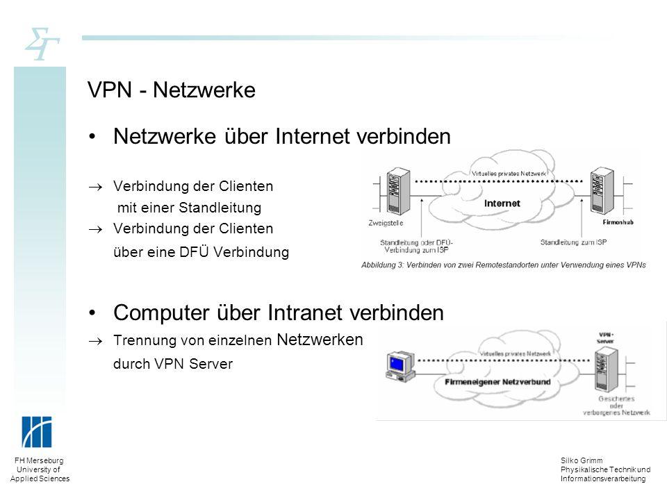 Silko Grimm Physikalische Technik und Informationsverarbeitung FH Merseburg University of Applied Sciences VPN - Netzwerke Netzwerke über Internet ver
