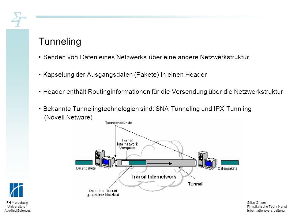 Silko Grimm Physikalische Technik und Informationsverarbeitung FH Merseburg University of Applied Sciences Tunneling Senden von Daten eines Netzwerks