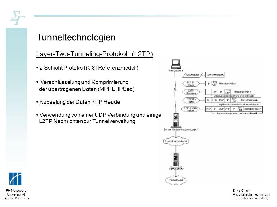 Silko Grimm Physikalische Technik und Informationsverarbeitung FH Merseburg University of Applied Sciences Tunneltechnologien Layer-Two-Tunneling-Prot