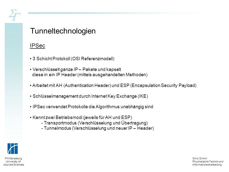 Silko Grimm Physikalische Technik und Informationsverarbeitung FH Merseburg University of Applied Sciences Tunneltechnologien IPSec 3 Schicht Protokol