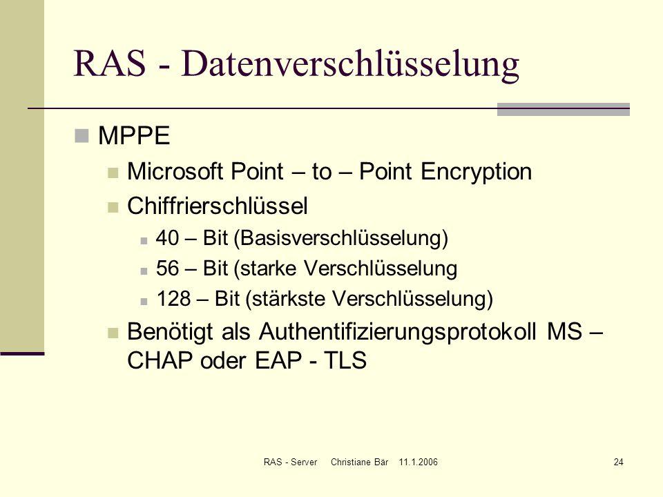 RAS - Server Christiane Bär 11.1.200624 RAS - Datenverschlüsselung MPPE Microsoft Point – to – Point Encryption Chiffrierschlüssel 40 – Bit (Basisvers