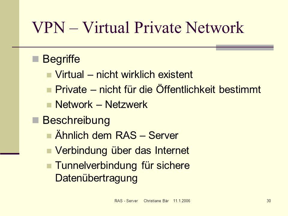 RAS - Server Christiane Bär 11.1.200630 VPN – Virtual Private Network Begriffe Virtual – nicht wirklich existent Private – nicht für die Öffentlichkei