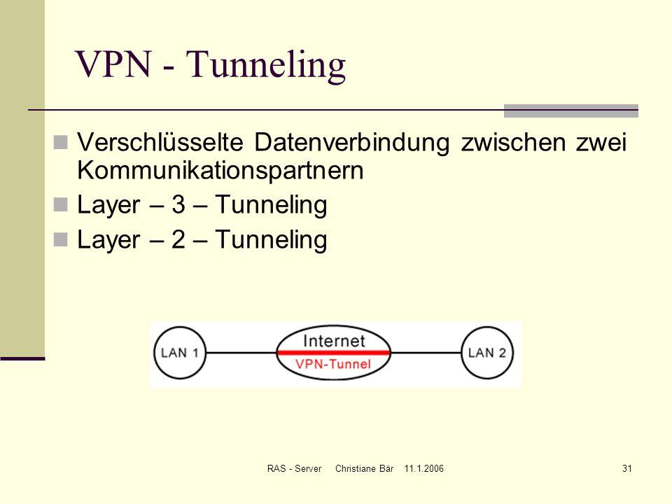 RAS - Server Christiane Bär 11.1.200631 VPN - Tunneling Verschlüsselte Datenverbindung zwischen zwei Kommunikationspartnern Layer – 3 – Tunneling Laye
