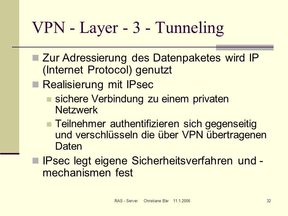 RAS - Server Christiane Bär 11.1.200632 VPN - Layer - 3 - Tunneling Zur Adressierung des Datenpaketes wird IP (Internet Protocol) genutzt Realisierung