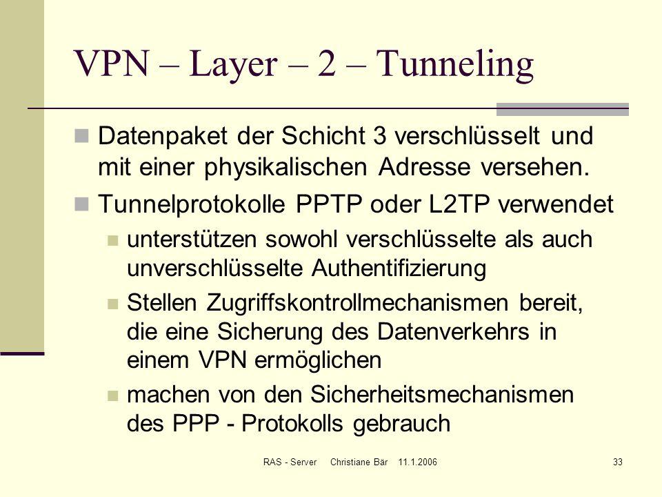 RAS - Server Christiane Bär 11.1.200633 VPN – Layer – 2 – Tunneling Datenpaket der Schicht 3 verschlüsselt und mit einer physikalischen Adresse verseh