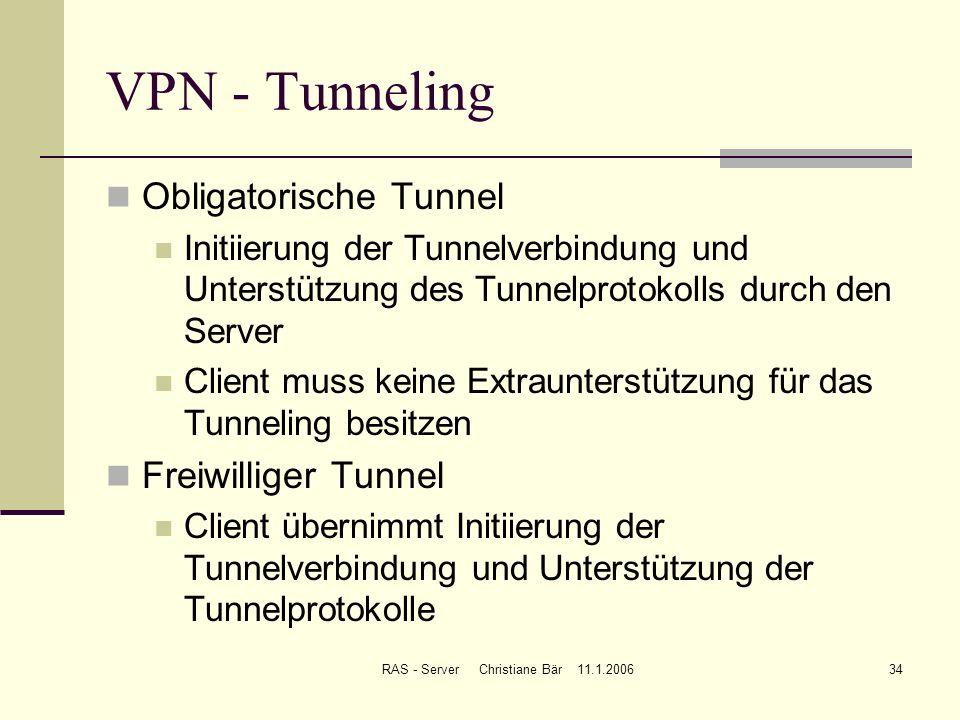 RAS - Server Christiane Bär 11.1.200634 VPN - Tunneling Obligatorische Tunnel Initiierung der Tunnelverbindung und Unterstützung des Tunnelprotokolls