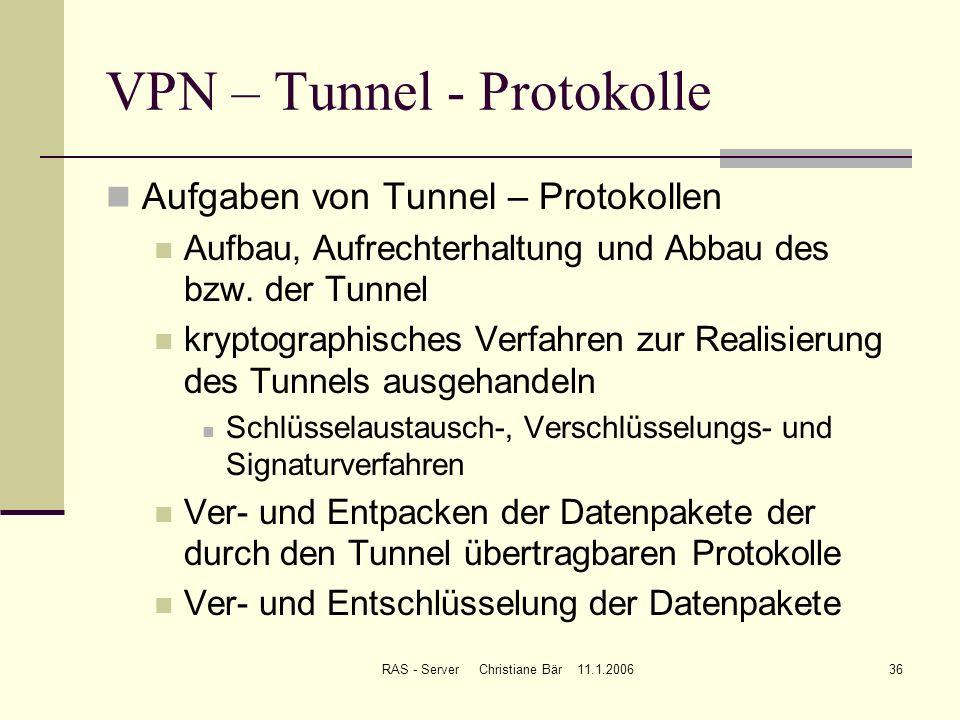 RAS - Server Christiane Bär 11.1.200636 VPN – Tunnel - Protokolle Aufgaben von Tunnel – Protokollen Aufbau, Aufrechterhaltung und Abbau des bzw. der T
