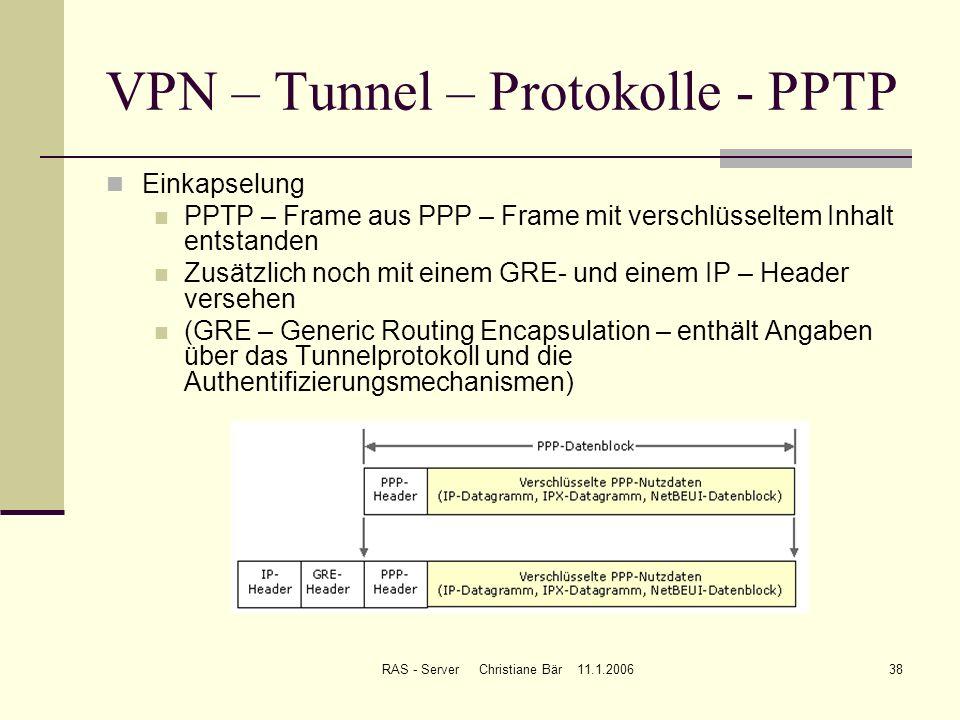 RAS - Server Christiane Bär 11.1.200638 VPN – Tunnel – Protokolle - PPTP Einkapselung PPTP – Frame aus PPP – Frame mit verschlüsseltem Inhalt entstand