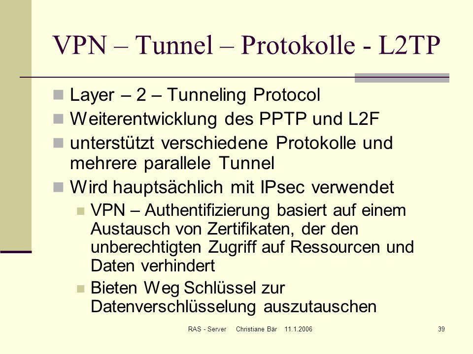 RAS - Server Christiane Bär 11.1.200639 VPN – Tunnel – Protokolle - L2TP Layer – 2 – Tunneling Protocol Weiterentwicklung des PPTP und L2F unterstützt