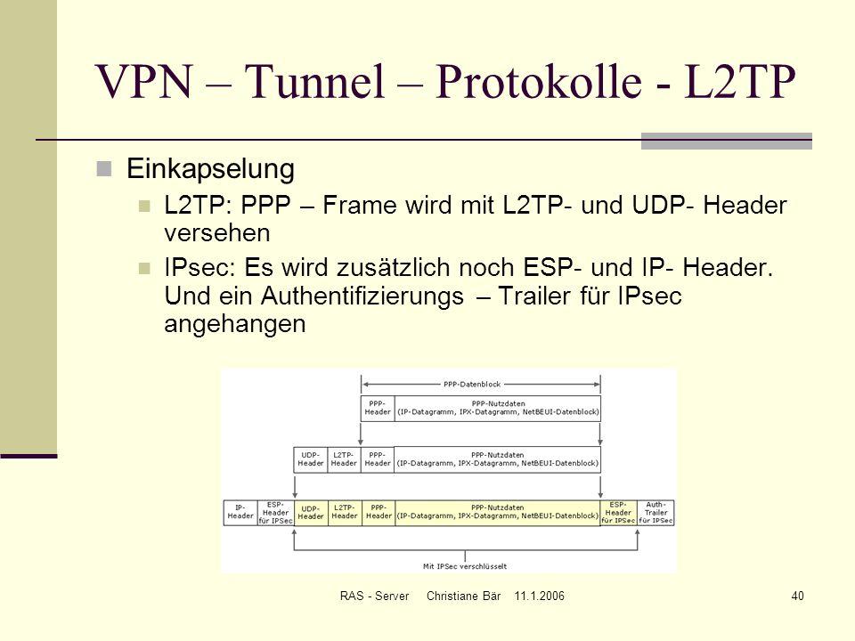 RAS - Server Christiane Bär 11.1.200640 VPN – Tunnel – Protokolle - L2TP Einkapselung L2TP: PPP – Frame wird mit L2TP- und UDP- Header versehen IPsec: