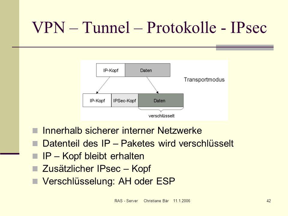 RAS - Server Christiane Bär 11.1.200642 VPN – Tunnel – Protokolle - IPsec Innerhalb sicherer interner Netzwerke Datenteil des IP – Paketes wird versch