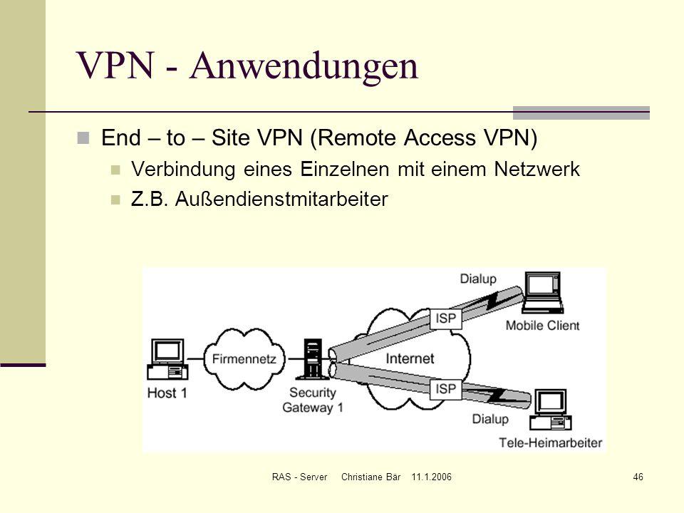 RAS - Server Christiane Bär 11.1.200646 VPN - Anwendungen End – to – Site VPN (Remote Access VPN) Verbindung eines Einzelnen mit einem Netzwerk Z.B. A
