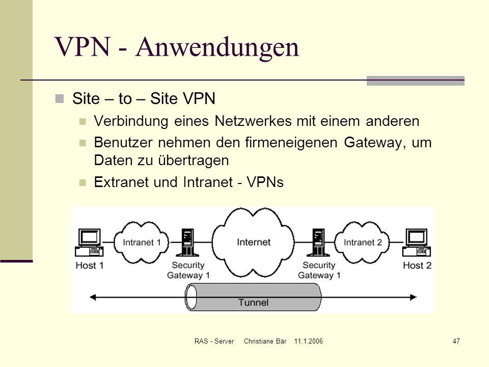 RAS - Server Christiane Bär 11.1.200647 VPN - Anwendungen Site – to – Site VPN Verbindung eines Netzwerkes mit einem anderen Benutzer nehmen den firme