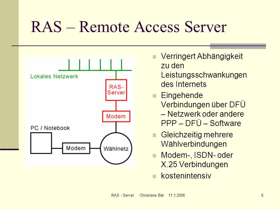 RAS - Server Christiane Bär 11.1.20066 RAS – Remote Access Server Verringert Abhängigkeit zu den Leistungsschwankungen des Internets Eingehende Verbin