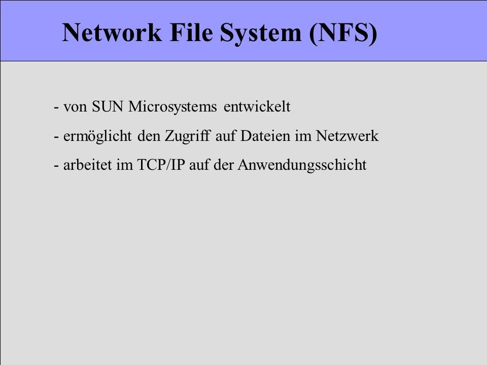 Network File System (NFS) - von SUN Microsystems entwickelt - ermöglicht den Zugriff auf Dateien im Netzwerk - arbeitet im TCP/IP auf der Anwendungssc