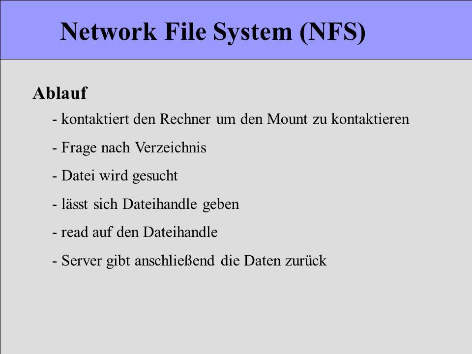 Network File System (NFS) - kontaktiert den Rechner um den Mount zu kontaktieren - Frage nach Verzeichnis - Datei wird gesucht - lässt sich Dateihandl