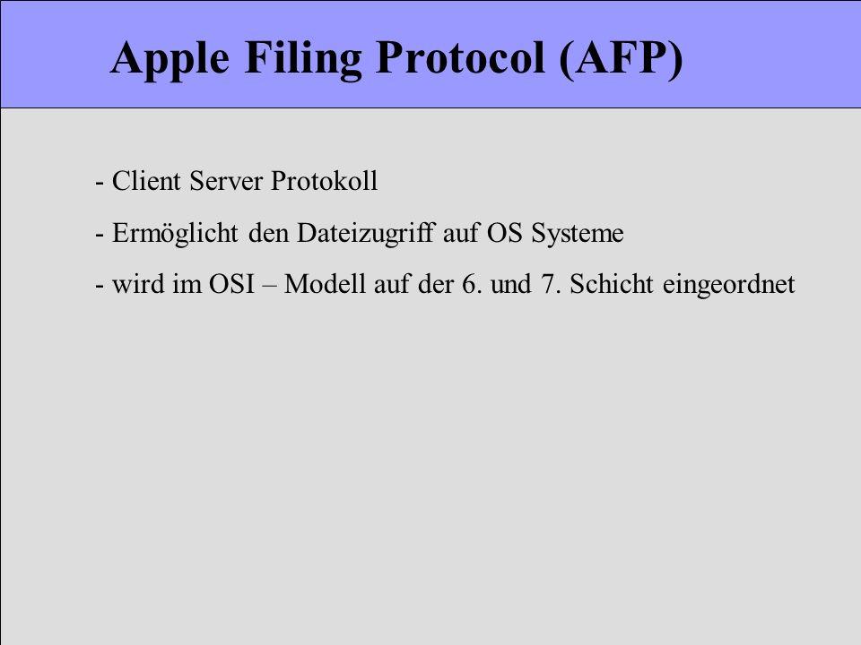 Apple Filing Protocol (AFP) - Client Server Protokoll - Ermöglicht den Dateizugriff auf OS Systeme - wird im OSI – Modell auf der 6. und 7. Schicht ei