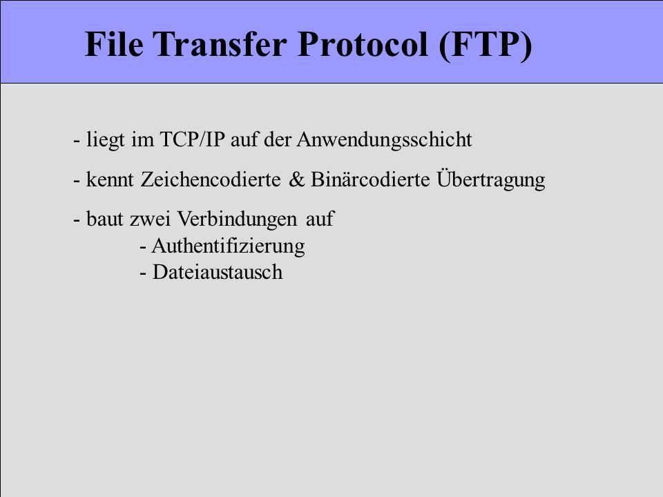 File Transfer Protocol (FTP) - liegt im TCP/IP auf der Anwendungsschicht - kennt Zeichencodierte & Binärcodierte Übertragung - baut zwei Verbindungen
