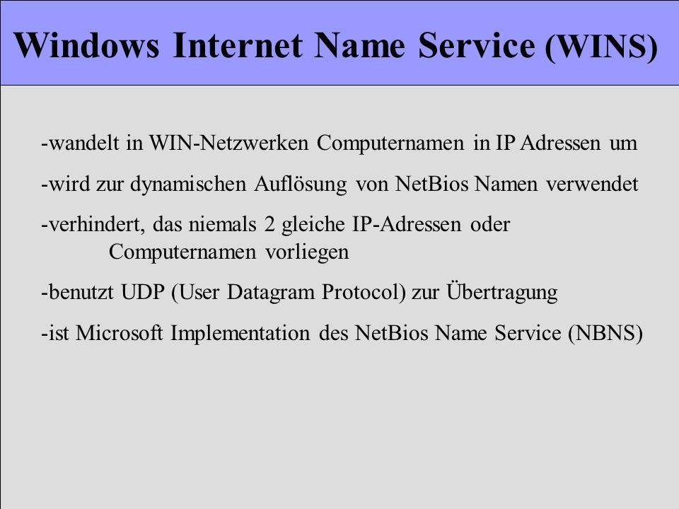 Windows Internet Name Service (WINS) -wandelt in WIN-Netzwerken Computernamen in IP Adressen um -wird zur dynamischen Auflösung von NetBios Namen verw