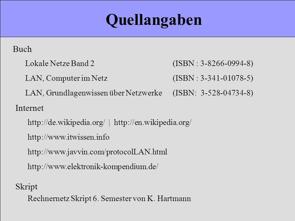 Quellangaben Buch Lokale Netze Band 2 (ISBN : 3-8266-0994-8) LAN, Computer im Netz (ISBN : 3-341-01078-5) LAN, Grundlagenwissen über Netzwerke (ISBN: