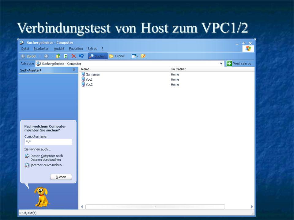 Verbindungstest von Host zum VPC1/2
