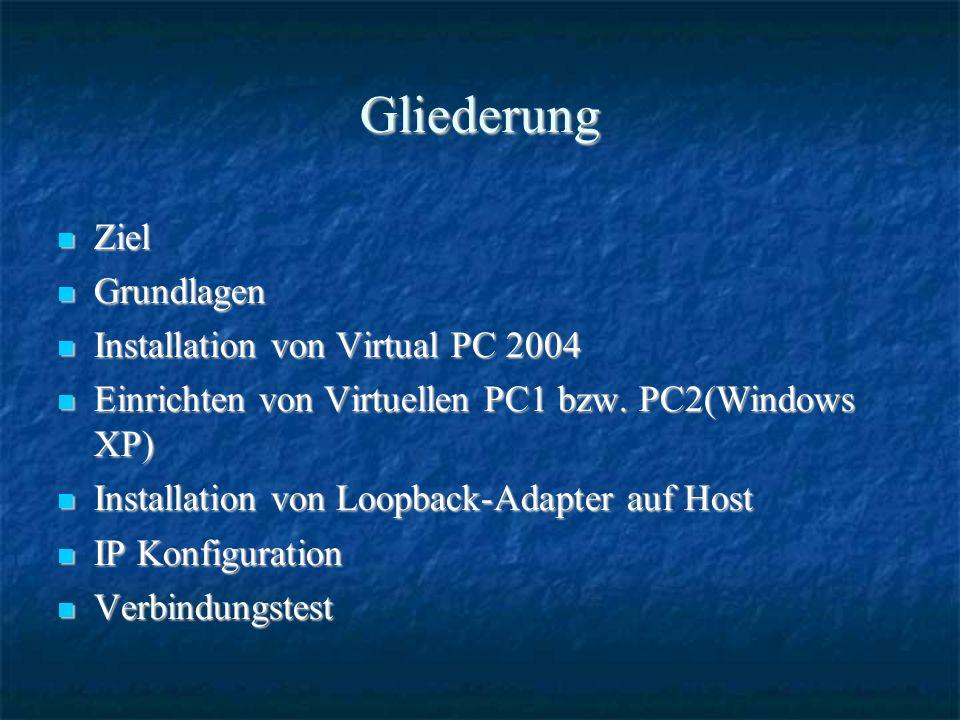 Gliederung Ziel Ziel Grundlagen Grundlagen Installation von Virtual PC 2004 Installation von Virtual PC 2004 Einrichten von Virtuellen PC1 bzw.