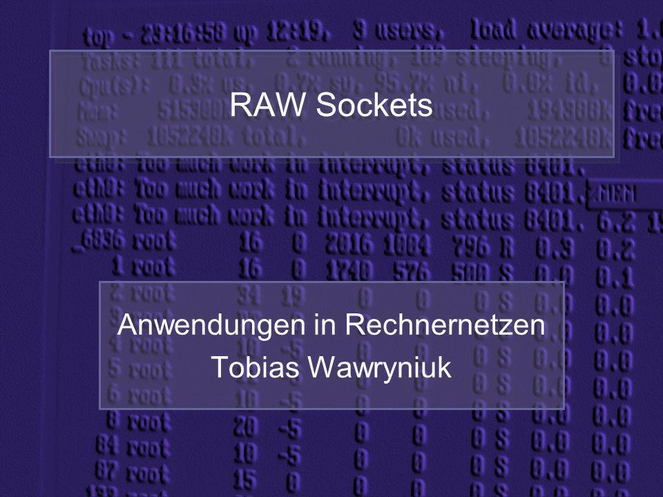 RAW Sockets Anwendungen in Rechnernetzen Tobias Wawryniuk